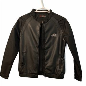 DICKIES LEATHER JACKET SMALL WITH POCKETS & ZIPPER